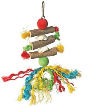 Wooden Rope & Beads Bird Toy