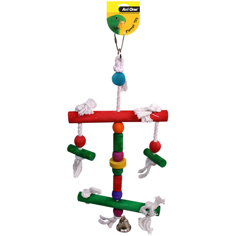 Avi One Parrot Toy 2 Level Perch Bell